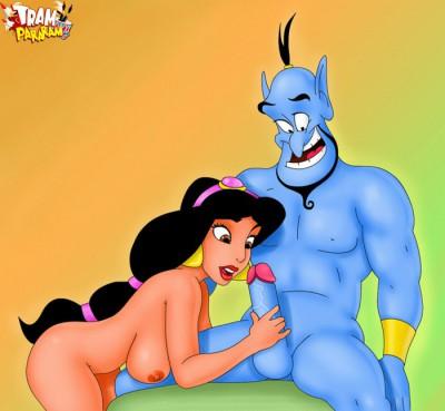 Jasmine strokes Genie's big cock