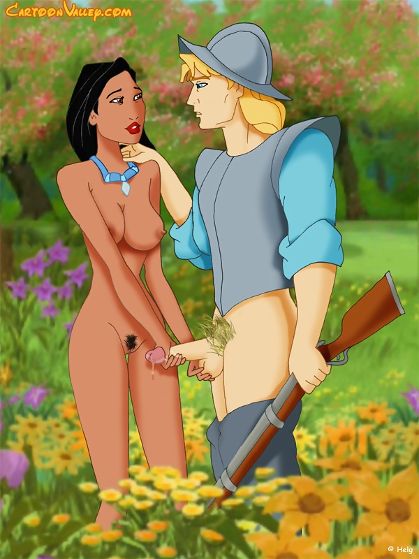 Pocahontas strokes the guys dick